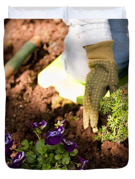 Woman Gardening Duvet Cover