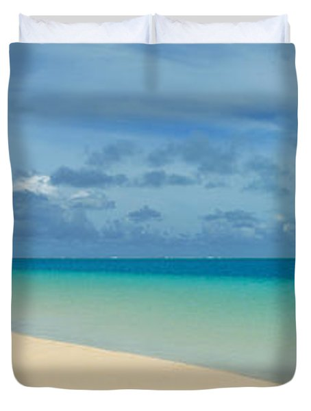 Woman In Distance On Sandbar, Aitutaki Duvet Cover