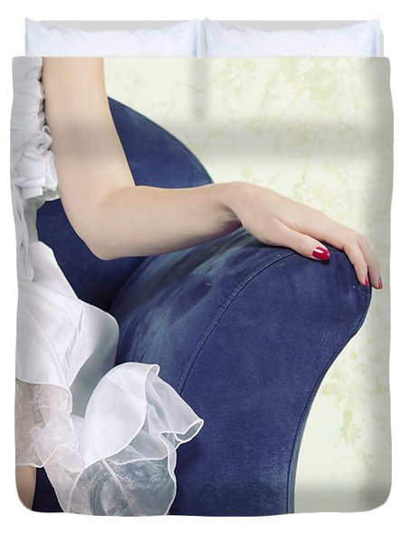 Woman On Chair Duvet Cover by Joana Kruse
