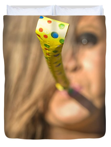 Woman Whistle Blower Duvet Cover