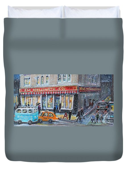 Duvet Cover featuring the painting Woolworth's Holiday Shopping by Rita Brown