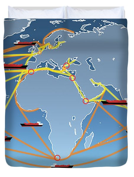 World Shipping Routes Map Duvet Cover by Atiketta Sangasaeng