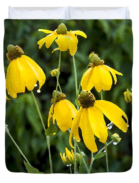 Yellow Cone Flowers Rudbeckia Duvet Cover by Rich Franco