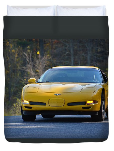 Yellow Corvette Duvet Cover