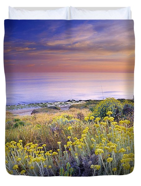 Yellow Flowers At The Sea Duvet Cover by Guido Montanes Castillo
