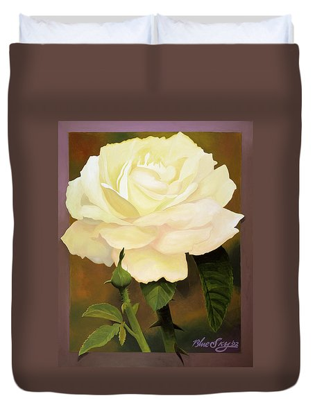 Yellow Rose Duvet Cover by Blue Sky