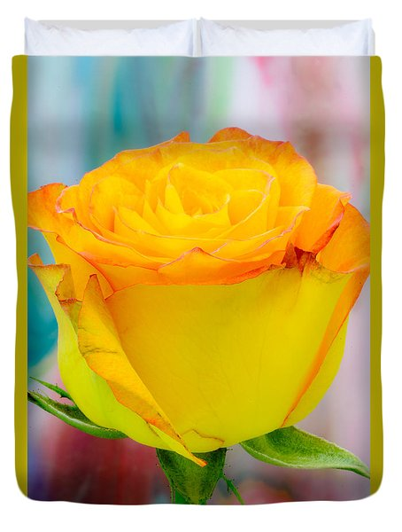Yellow Rose Macro Duvet Cover