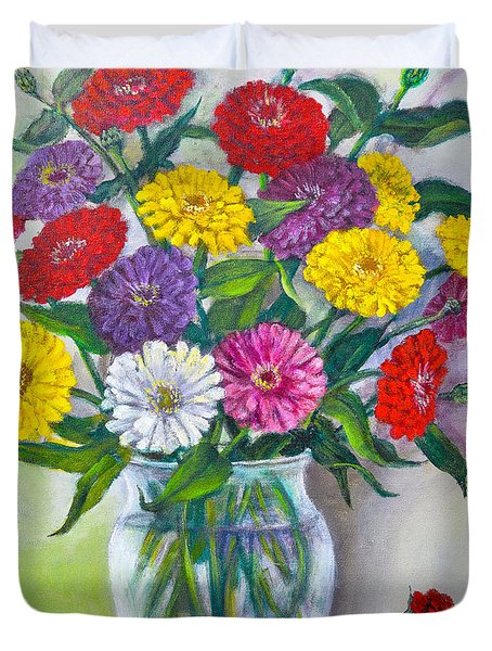 Old Fashioned Zinnias Duvet Cover