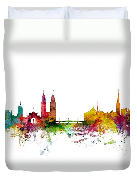 Zurich Switzerland Skyline Duvet Cover