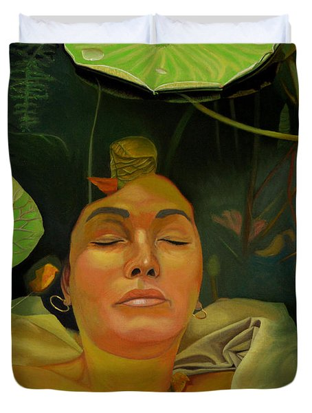 Duvet Cover featuring the painting 10 30 A.m. by Thu Nguyen