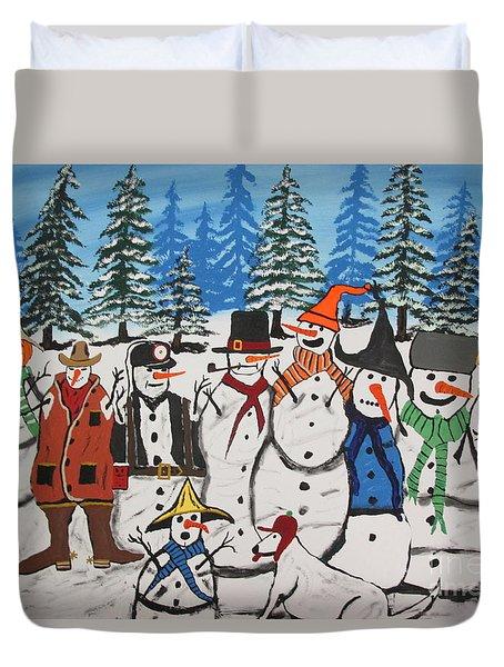 10 Christmas Snowmen  Duvet Cover