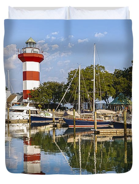 Lighthouse On Hilton Head Island Duvet Cover