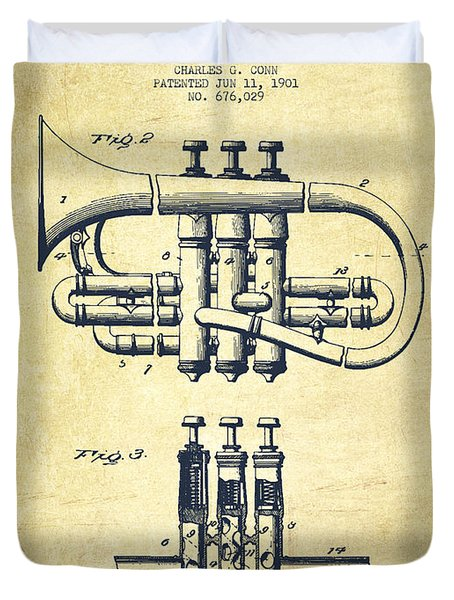 Cornet Patent Drawing From 1901 - Vintage Duvet Cover by Aged Pixel