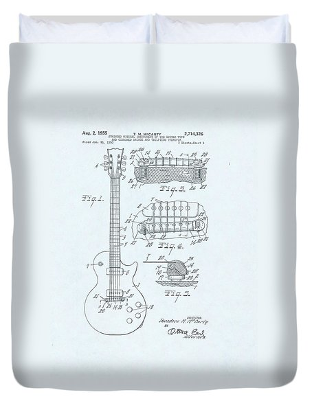 Guitar Patent Drawing On Blue Background Duvet Cover