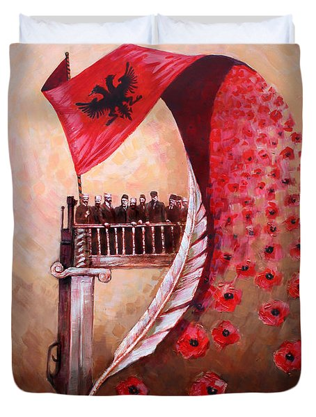 100 Vjetori I Pavaresis Se Shqiperise  Duvet Cover by Ylli Haruni