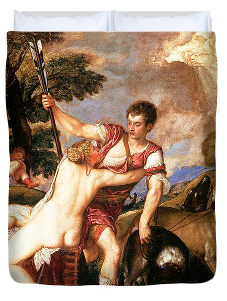 Venus And Adonis Painting by Titian