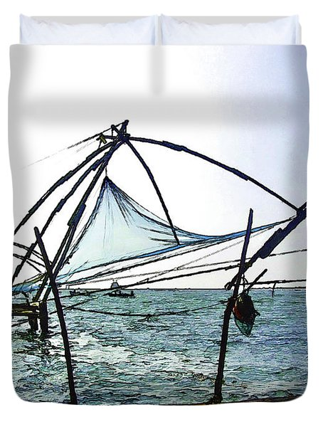 Fishing Nets On The Sea Coast In Alleppey Duvet Cover