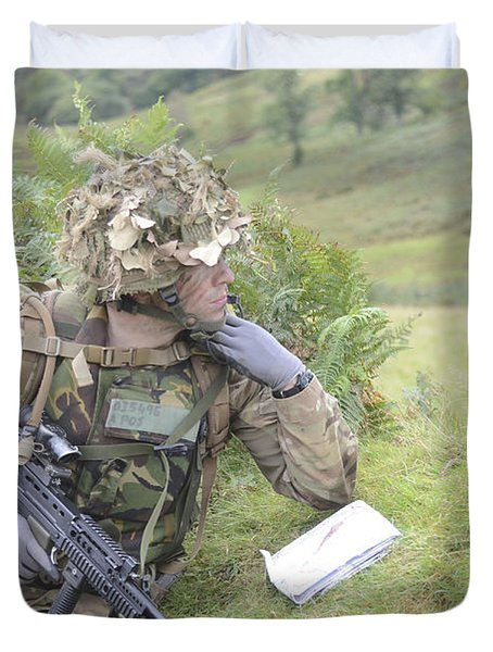 Welsh Guards Training Duvet Cover by Andrew Chittock