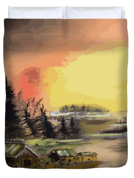 110214fa Fishing Camp Duvet Cover
