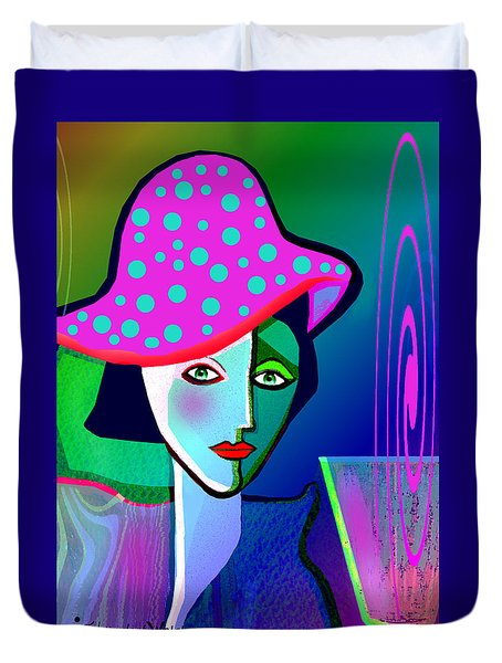 1150 - Woman With Pocodot Hat ... Duvet Cover by Irmgard Schoendorf Welch