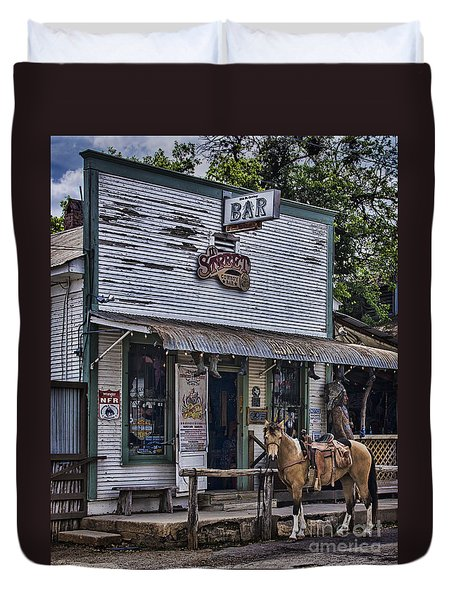 11th Street Cowboy Bar In Bandera Texas Duvet Cover by Priscilla Burgers