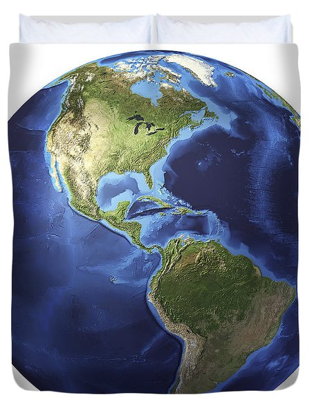 3d Rendering Of Planet Earth, Centered Duvet Cover by Leonello Calvetti