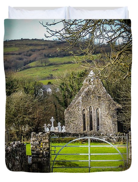 12th Century Cross And Church In Ireland Duvet Cover