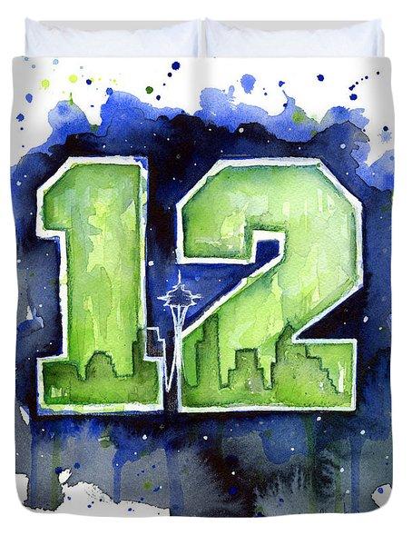 12th Man Seahawks Art Seattle Go Hawks Duvet Cover