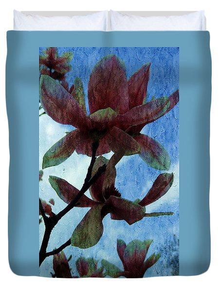Pink Magnolia Flowers  Duvet Cover