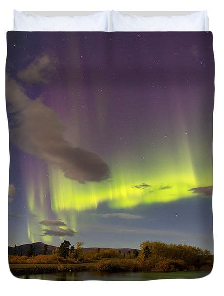 Aurora Borealis With Moonlight At Fish Duvet Cover by Joseph Bradley