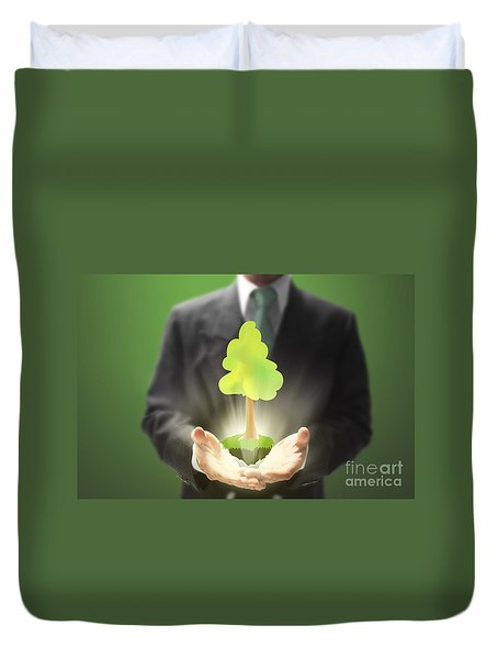 Business Abstract Duvet Cover by Atiketta Sangasaeng