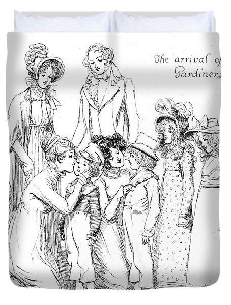 Scene From Pride And Prejudice By Jane Austen Duvet Cover by Hugh Thomson