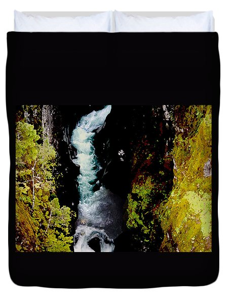 1425 Avalanche Gorge Glacier Park Montana Duvet Cover