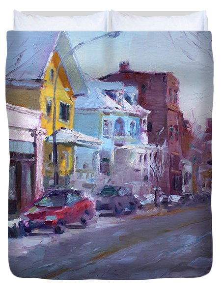 149 Elmwood Ave Savoy Duvet Cover by Ylli Haruni