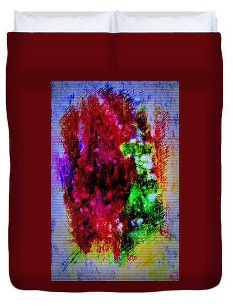 Red Clovers In Abstract Duvet Cover