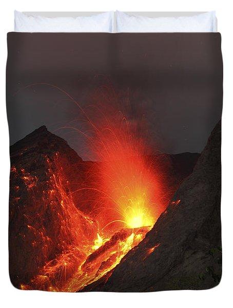 Strombolian Type Eruption Of Batu Tara Duvet Cover by Richard Roscoe