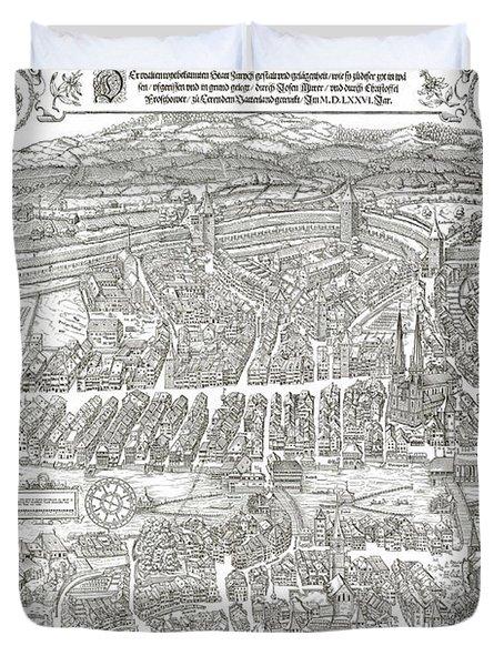 1576 Zurich Switzerland Map Duvet Cover by Daniel Hagerman