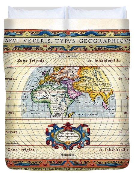 1590 Historical World Rare Map Aevi Veteris Typus Geographicus Duvet Cover by Karon Melillo DeVega