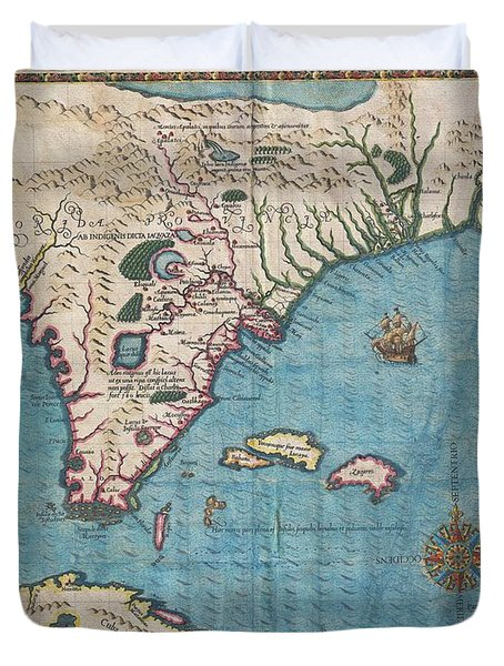 1591 De Bry And Le Moyne Map Of Florida And Cuba Duvet Cover by Paul Fearn