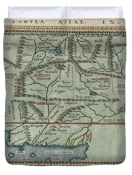 1597 Ptolemy  Magini  Keschedt Map Of Pakistan Iran And Afghanistan Duvet Cover by Paul Fearn