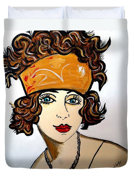 Art Deco  Hilda Duvet Cover by Nora Shepley