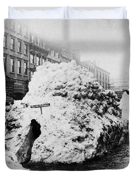 New York Blizzard Of 1888 Duvet Cover