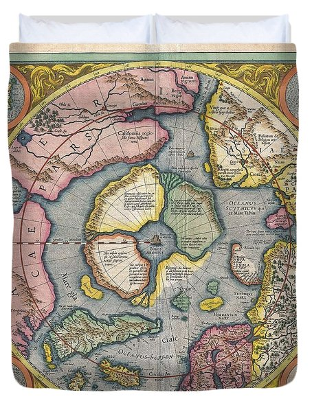 1606 Mercator Hondius Map Of The Arctic Duvet Cover by Paul Fearn