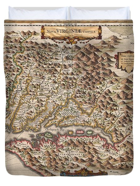 1630 Hondius Map Of Virginia And The Chesapeake Duvet Cover by Paul Fearn