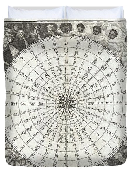 1650 Jansson Wind Rose Anemographic Chart Or Map Of The Winds Duvet Cover by Paul Fearn