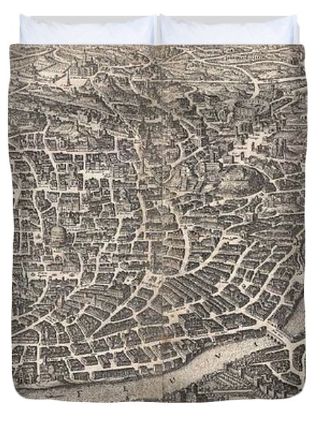 1652 Merian Panoramic View Or Map Of Rome Italy Duvet Cover by Paul Fearn