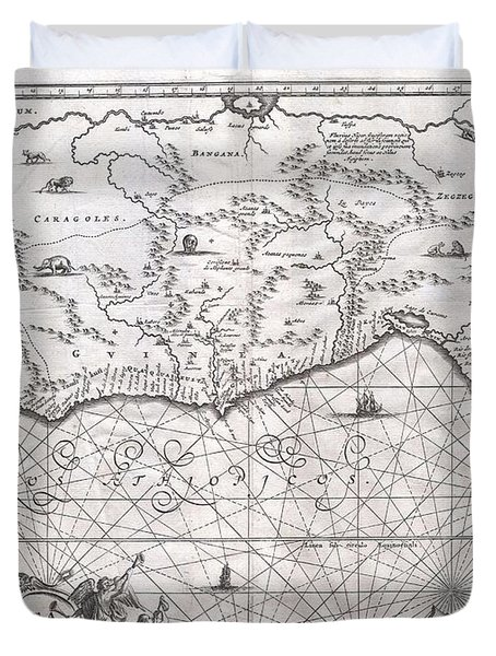 1670 Ogilby Map Of West Africa  Gold Coast Slave Coast Ivory Coast Duvet Cover by Paul Fearn