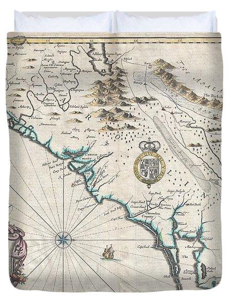 1676 John Speed Map Of Carolina Duvet Cover by Paul Fearn