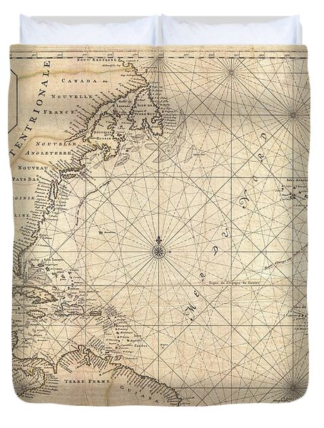 1683 Mortier Map Of North America The West Indies And The Atlantic Ocean  Duvet Cover by Paul Fearn