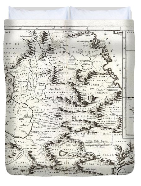 1690 Coronelli Map Of Ethiopia Abyssinia And The Source Of The Blue Nile Duvet Cover by Paul Fearn